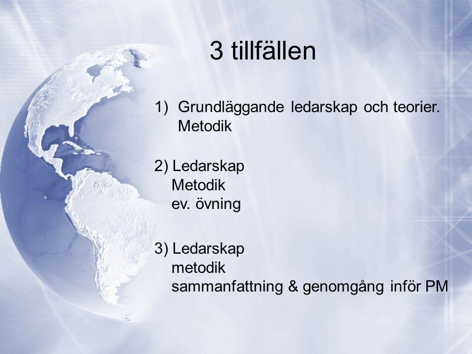 3 tillfällen 1)Grundläggande ledarskap och teorier. Metodik 2) Ledarskap Metodik ev. övning 3) Ledarskap metodik sammanfattning & genomgång inför PM