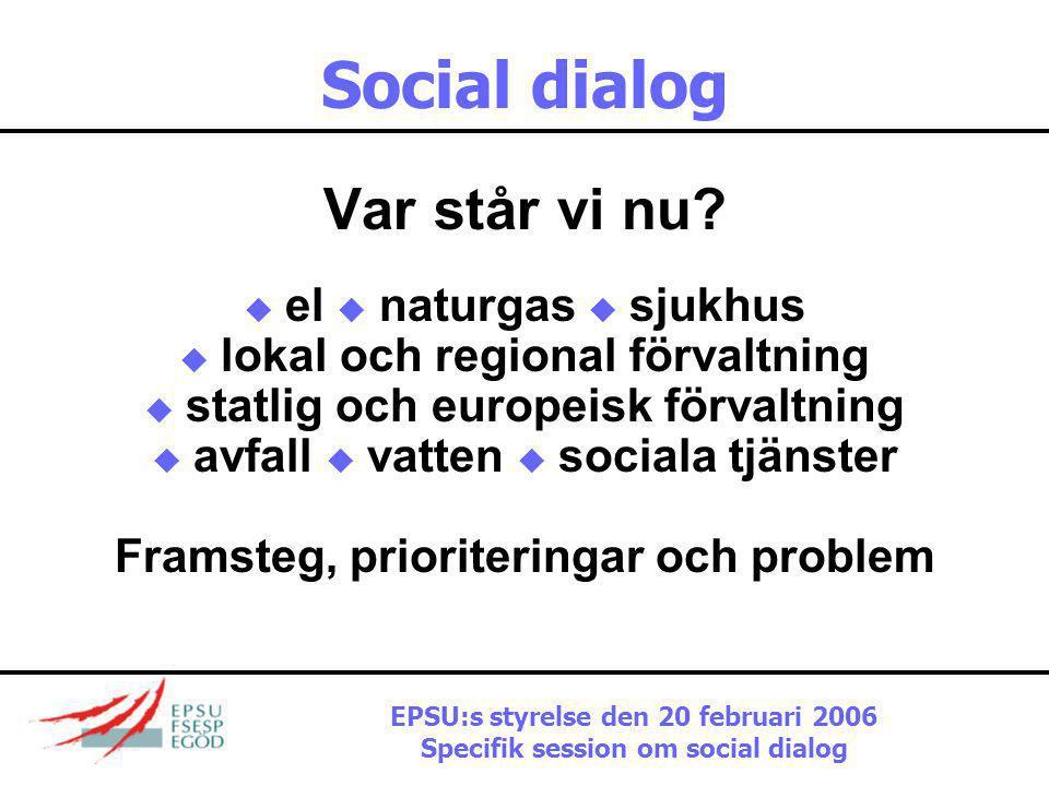 Social dialog Aktuellt klimat  Avreglering står högst upp på kommissionens dagordning  Inget substantiellt på den socialpolitiska dagordningen  Inga påtryckningar på arbetsgivarna att komma överens om ett positivt arbetsprogram  Så social dialog handlar inte om bättre styrning utan mer om att hantera modernisering EPSU:s styrelse den 20 februari 2006 Specifik session om social dialog