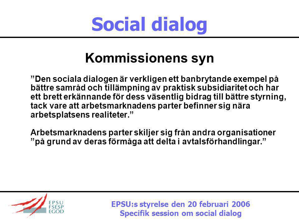 """Social dialog Kommissionens syn """"Den sociala dialogen har en avgörande och unik ställning i det demokratiska styret av Europa i egenskap av drivkraft"""