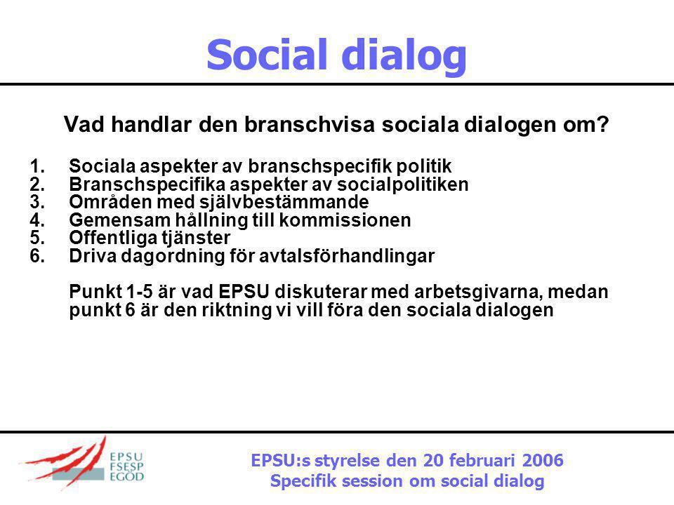 Social dialog Aktuellt klimat  Avreglering står högst upp på kommissionens dagordning  Inget substantiellt på den socialpolitiska dagordningen  Ing