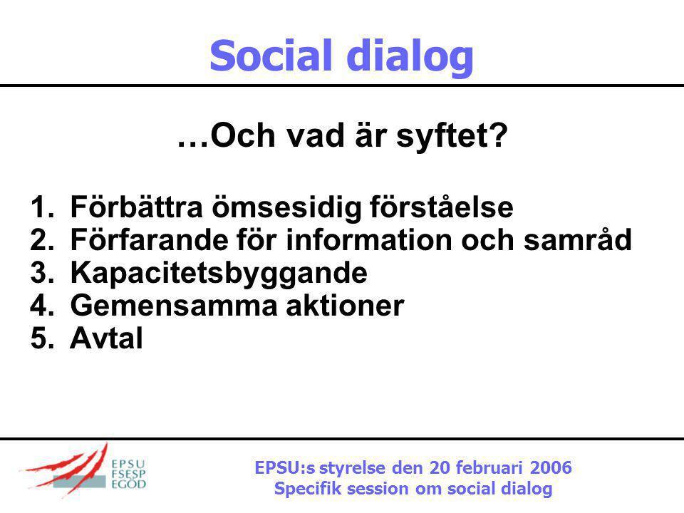 Social dialog Vad handlar den branschvisa sociala dialogen om? 1.Sociala aspekter av branschspecifik politik 2.Branschspecifika aspekter av socialpoli