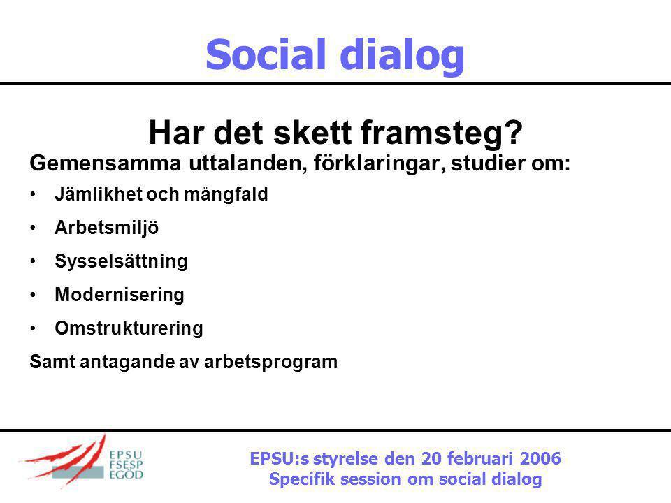 Social dialog …Och vad är syftet? 1.Förbättra ömsesidig förståelse 2.Förfarande för information och samråd 3.Kapacitetsbyggande 4.Gemensamma aktioner