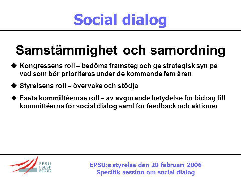 Social dialog Har det skett framsteg? Gemensamma uttalanden, förklaringar, studier om: •Jämlikhet och mångfald •Arbetsmiljö •Sysselsättning •Modernise