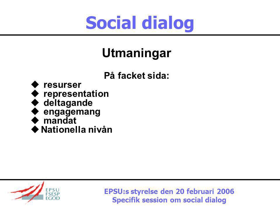 Social dialog Utmaningar På arbetsgivarsidan:  representation  deltagande  engagemang  förhandlingsmandat  procedurer  innehåll EPSU:s styrelse