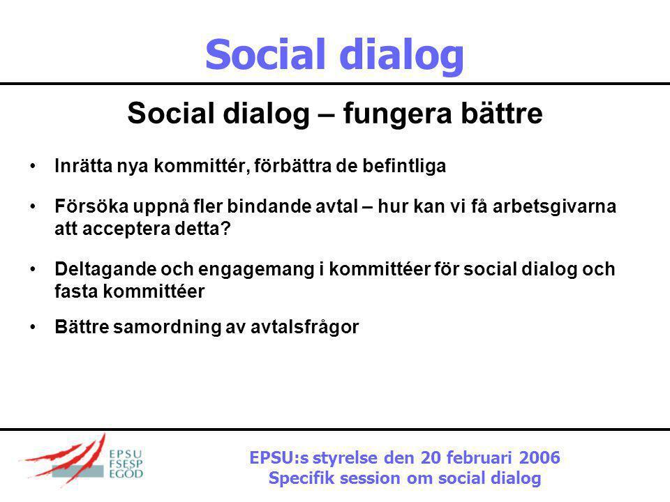 Social dialog Utmaningar På facket sida:  resurser  representation  deltagande  engagemang  mandat  Nationella nivån EPSU:s styrelse den 20 febr