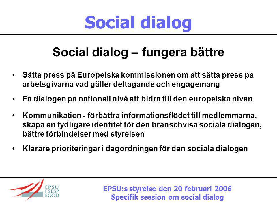 Social dialog Social dialog – fungera bättre •Inrätta nya kommittér, förbättra de befintliga •Försöka uppnå fler bindande avtal – hur kan vi få arbets