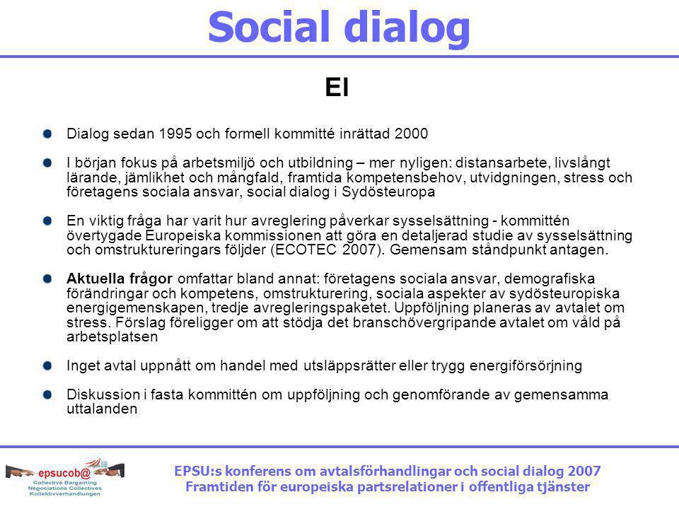 Social dialog El Dialog sedan 1995 och formell kommitté inrättad 2000 I början fokus på arbetsmiljö och utbildning – mer nyligen: distansarbete, livslångt lärande, jämlikhet och mångfald, framtida kompetensbehov, utvidgningen, stress och företagens sociala ansvar, social dialog i Sydösteuropa En viktig fråga har varit hur avreglering påverkar sysselsättning - kommittén övertygade Europeiska kommissionen att göra en detaljerad studie av sysselsättning och omstruktureringars följder (ECOTEC 2007).