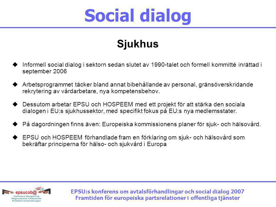 Social dialog Sjukhus  Informell social dialog i sektorn sedan slutet av 1990-talet och formell kommitté inrättad i september 2006  Arbetsprogrammet täcker bland annat bibehållande av personal, gränsöverskridande rekrytering av vårdarbetare, nya kompetensbehov.