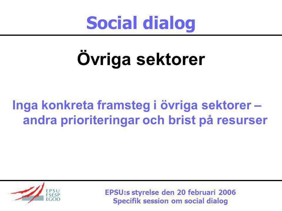 Social dialog Övriga sektorer Inga konkreta framsteg i övriga sektorer – andra prioriteringar och brist på resurser EPSU:s styrelse den 20 februari 2006 Specifik session om social dialog