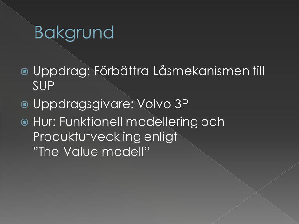 """ Uppdrag: Förbättra Låsmekanismen till SUP  Uppdragsgivare: Volvo 3P  Hur: Funktionell modellering och Produktutveckling enligt """"The Value modell"""""""