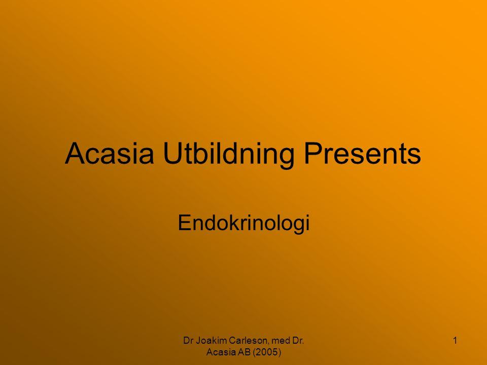 Dr Joakim Carleson, med Dr. Acasia AB (2005) 1 Acasia Utbildning Presents Endokrinologi