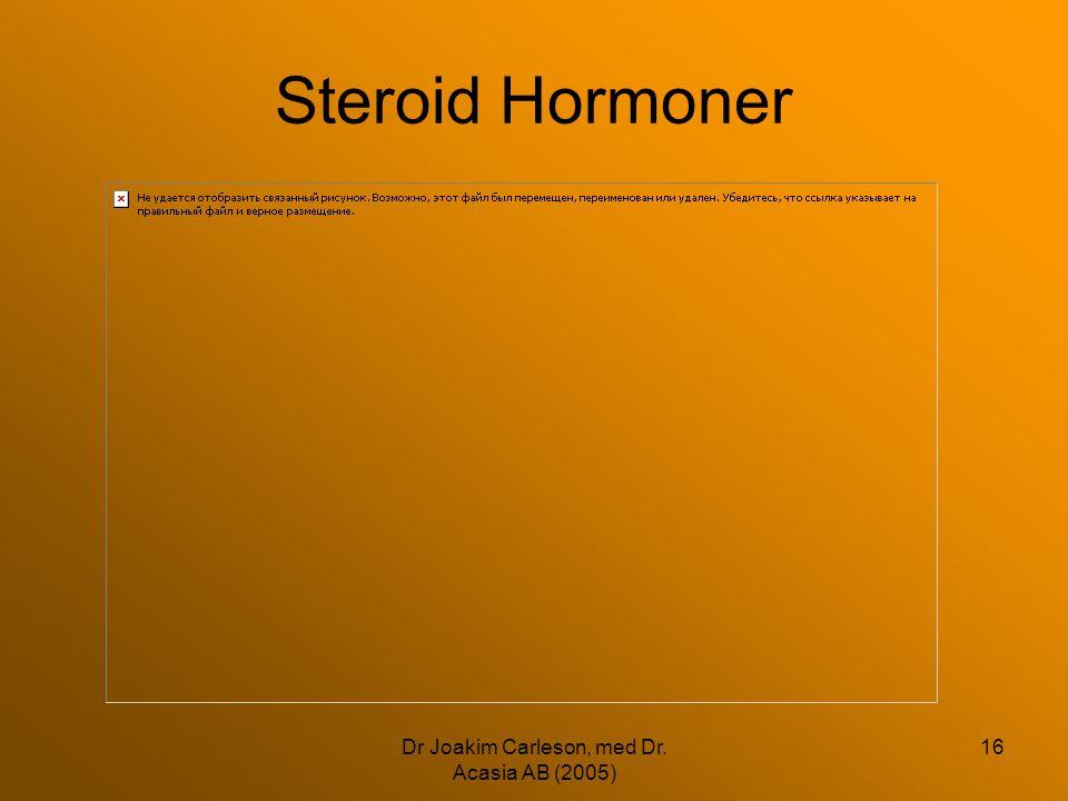 Dr Joakim Carleson, med Dr. Acasia AB (2005) 16 Steroid Hormoner