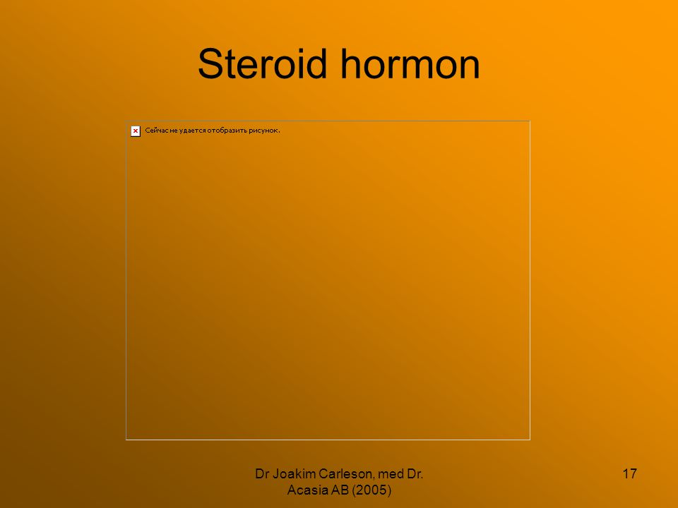 Dr Joakim Carleson, med Dr. Acasia AB (2005) 17 Steroid hormon