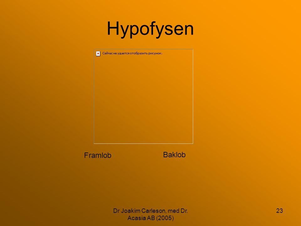 Dr Joakim Carleson, med Dr. Acasia AB (2005) 23 Hypofysen Framlob Baklob