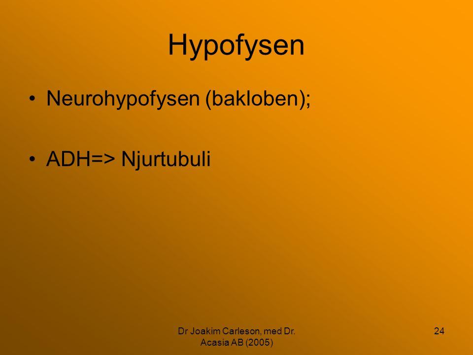 Dr Joakim Carleson, med Dr. Acasia AB (2005) 24 Hypofysen •Neurohypofysen (bakloben); •ADH=> Njurtubuli