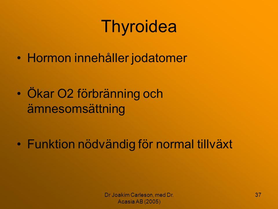 Dr Joakim Carleson, med Dr. Acasia AB (2005) 37 Thyroidea •Hormon innehåller jodatomer •Ökar O2 förbränning och ämnesomsättning •Funktion nödvändig fö