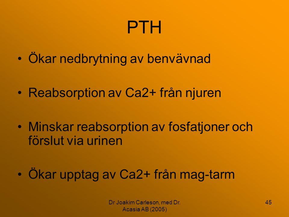 Dr Joakim Carleson, med Dr. Acasia AB (2005) 45 PTH •Ökar nedbrytning av benvävnad •Reabsorption av Ca2+ från njuren •Minskar reabsorption av fosfatjo