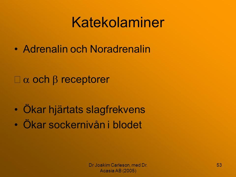 Dr Joakim Carleson, med Dr. Acasia AB (2005) 53 Katekolaminer •Adrenalin och Noradrenalin  och  receptorer •Ökar hjärtats slagfrekvens •Ökar socker