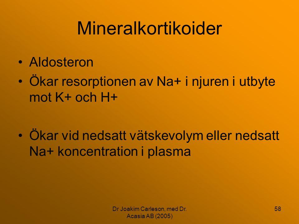 Dr Joakim Carleson, med Dr. Acasia AB (2005) 58 Mineralkortikoider •Aldosteron •Ökar resorptionen av Na+ i njuren i utbyte mot K+ och H+ •Ökar vid ned