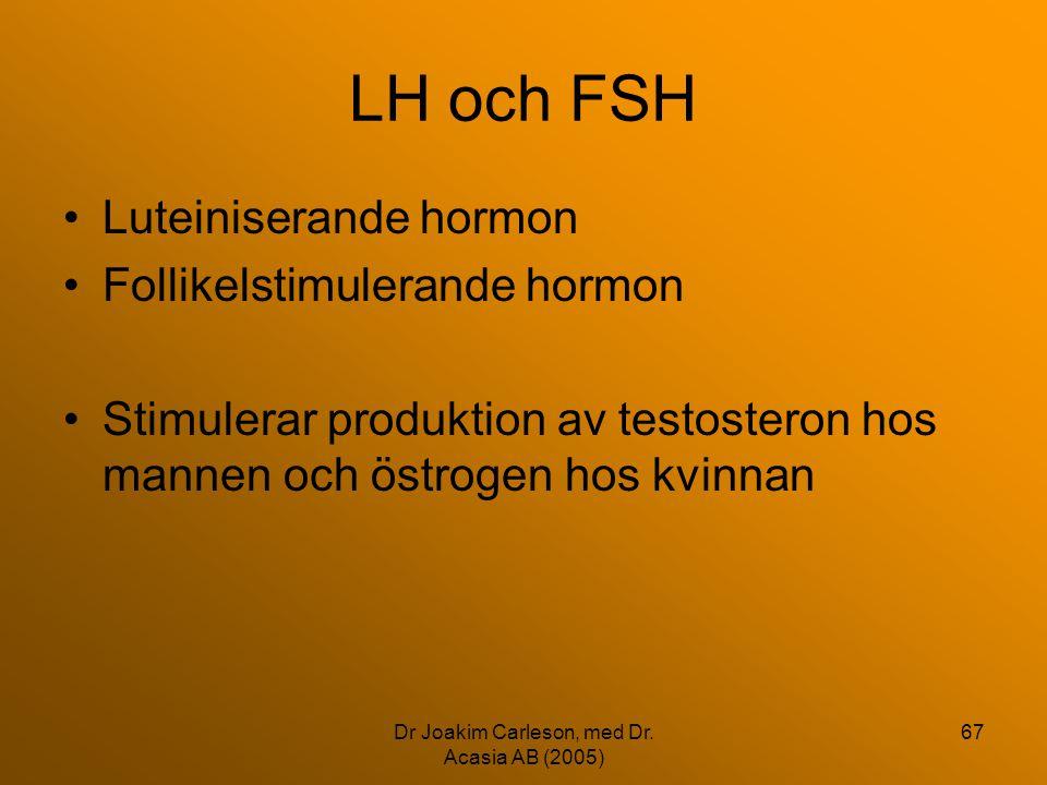 Dr Joakim Carleson, med Dr. Acasia AB (2005) 67 LH och FSH •Luteiniserande hormon •Follikelstimulerande hormon •Stimulerar produktion av testosteron h