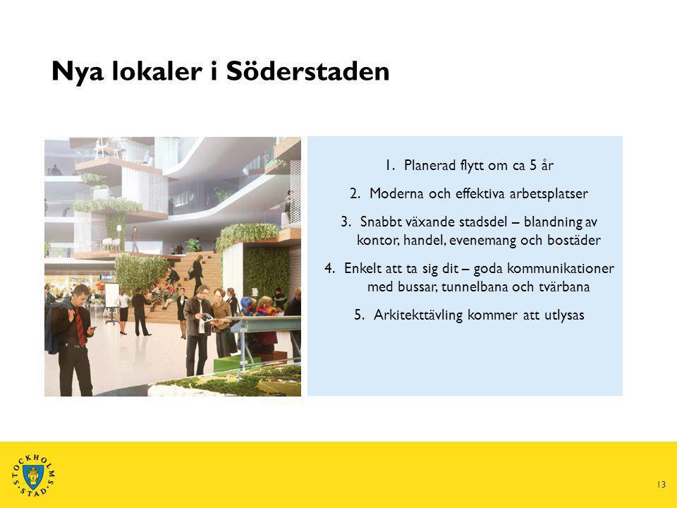 Nya lokaler i Söderstaden 13 1.Planerad flytt om ca 5 år 2.Moderna och effektiva arbetsplatser 3.Snabbt växande stadsdel – blandning av kontor, handel