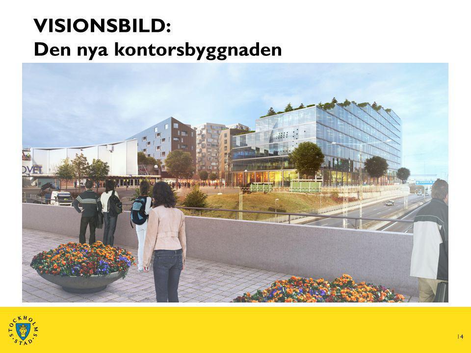 14 VISIONSBILD: Den nya kontorsbyggnaden