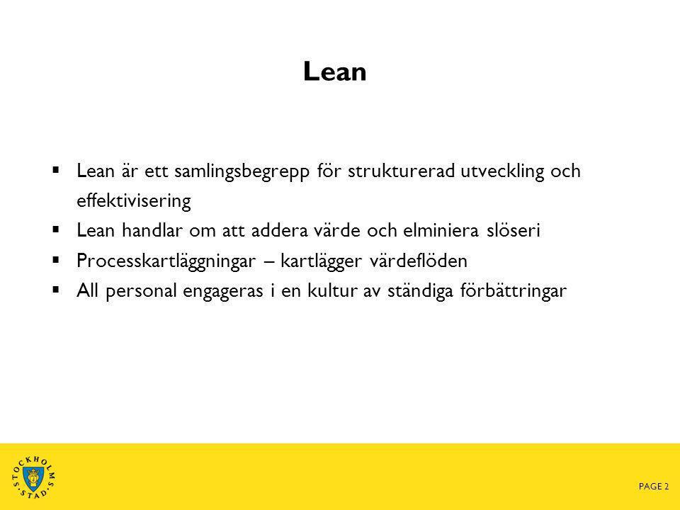 Lean  Lean är ett samlingsbegrepp för strukturerad utveckling och effektivisering  Lean handlar om att addera värde och elminiera slöseri  Processk