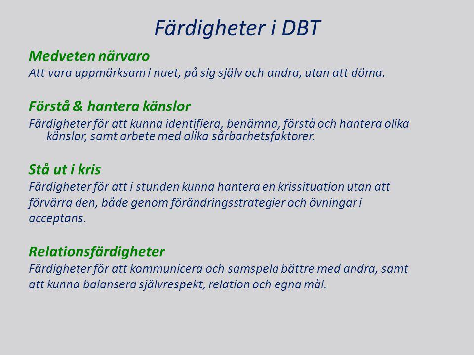 Färdigheter i DBT Medveten närvaro Att vara uppmärksam i nuet, på sig själv och andra, utan att döma. Förstå & hantera känslor Färdigheter för att kun