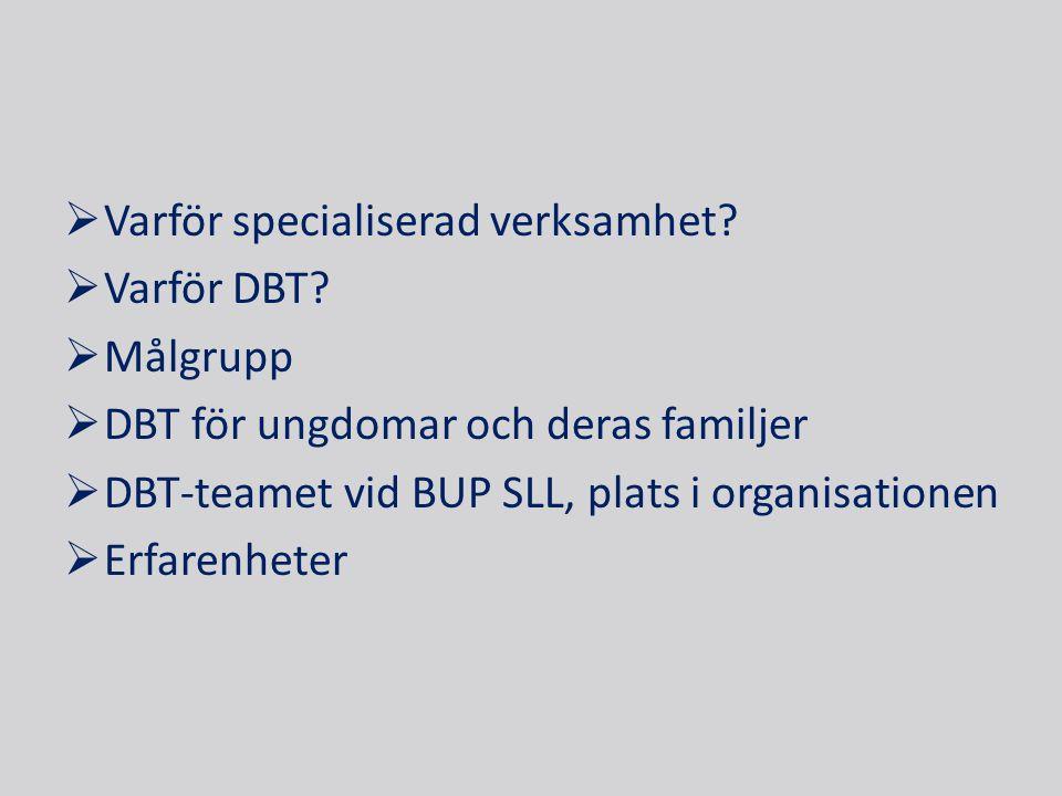  Varför specialiserad verksamhet?  Varför DBT?  Målgrupp  DBT för ungdomar och deras familjer  DBT-teamet vid BUP SLL, plats i organisationen  E