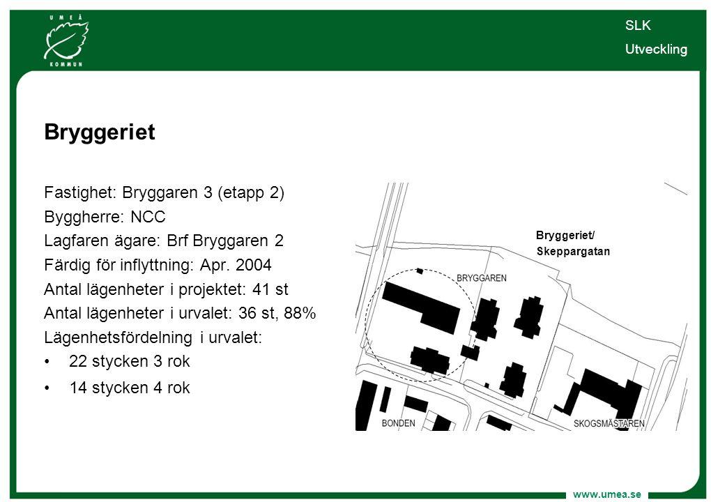 www.umea.se Bryggeriet Fastighet: Bryggaren 3 (etapp 2) Byggherre: NCC Lagfaren ägare: Brf Bryggaren 2 Färdig för inflyttning: Apr. 2004 Antal lägenhe