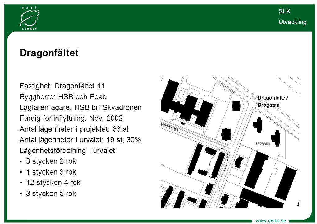 www.umea.se Dragonfältet Fastighet: Dragonfältet 11 Byggherre: HSB och Peab Lagfaren ägare: HSB brf Skvadronen Färdig för inflyttning: Nov. 2002 Antal