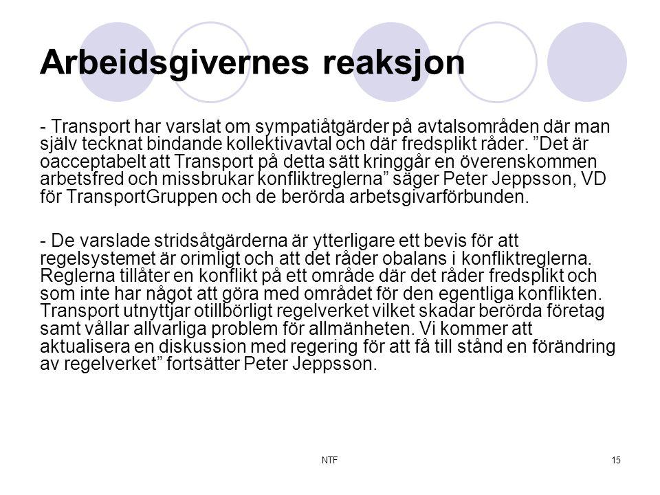 NTF15 Arbeidsgivernes reaksjon - Transport har varslat om sympatiåtgärder på avtalsområden där man själv tecknat bindande kollektivavtal och där fredsplikt råder.