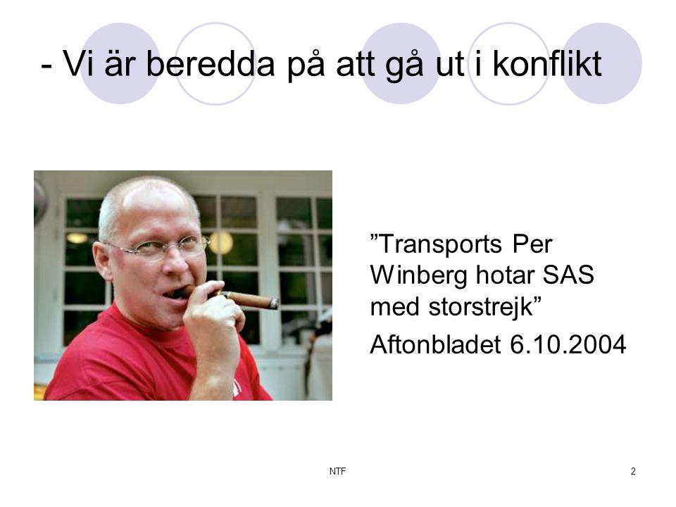 NTF13 Brev fra Svenska Transport Varsel om konfliktåtgärd samt varsel om sympatiåtgärder På grund av att de mellan Svenska Transportarbetareförbundet och Flygarbetsgivarna förda avtalsförhandlingarna för SAS Arbetareavtal och Riksavtalet inte resulterat i någon överenskommelse säger förbundet härmed upp dessa kollektivavtal och varslar om konfliktåtgärd och sympatiåtgärder.