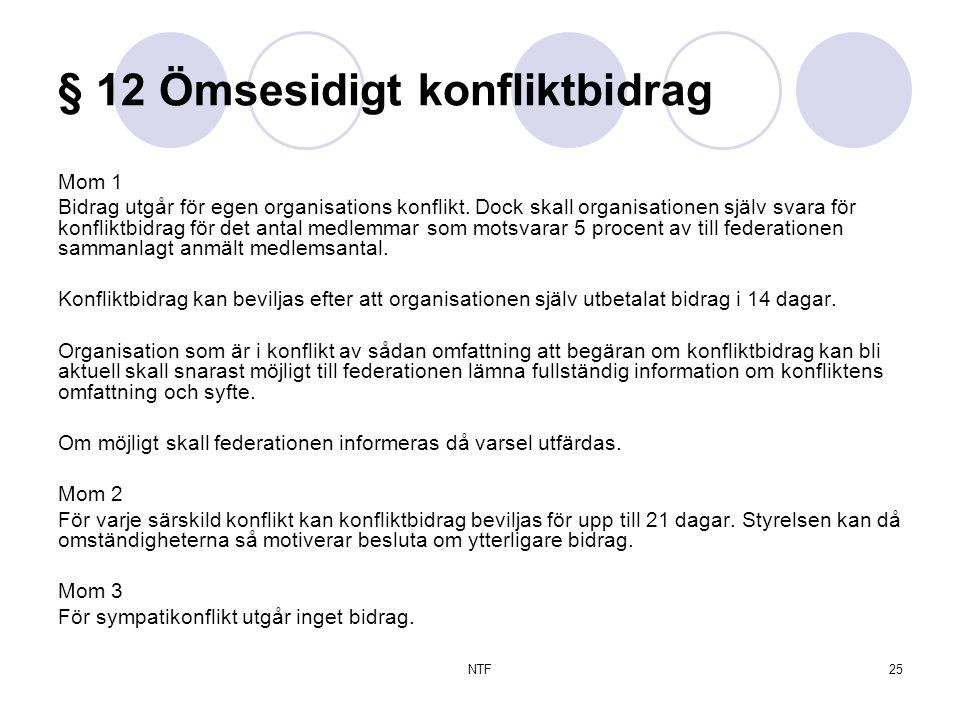 NTF25 § 12 Ömsesidigt konfliktbidrag Mom 1 Bidrag utgår för egen organisations konflikt.