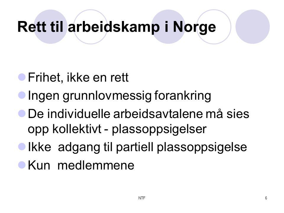 NTF6 Rett til arbeidskamp i Norge  Frihet, ikke en rett  Ingen grunnlovmessig forankring  De individuelle arbeidsavtalene må sies opp kollektivt - plassoppsigelser  Ikke adgang til partiell plassoppsigelse  Kun medlemmene