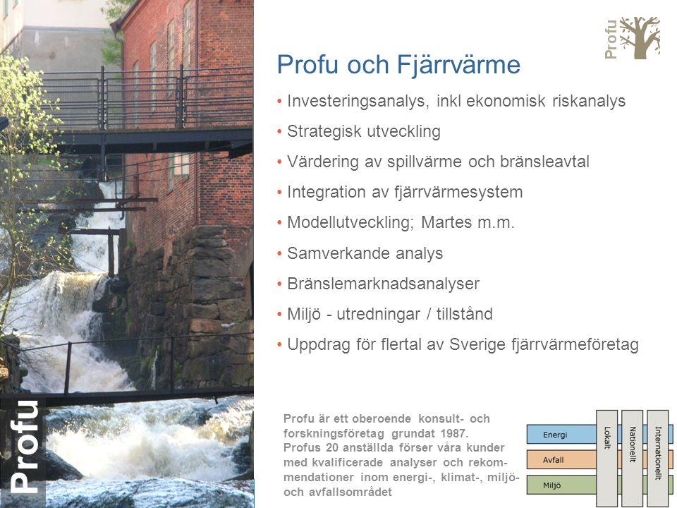 Profu Profu och Fjärrvärme Investeringsanalys, inkl ekonomisk riskanalys Strategisk utveckling Värdering av spillvärme och bränsleavtal Integration av