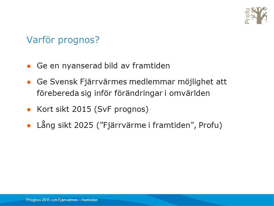 Varför prognos? ● Ge en nyanserad bild av framtiden ● Ge Svensk Fjärrvärmes medlemmar möjlighet att förebereda sig inför förändringar i omvärlden ● Ko