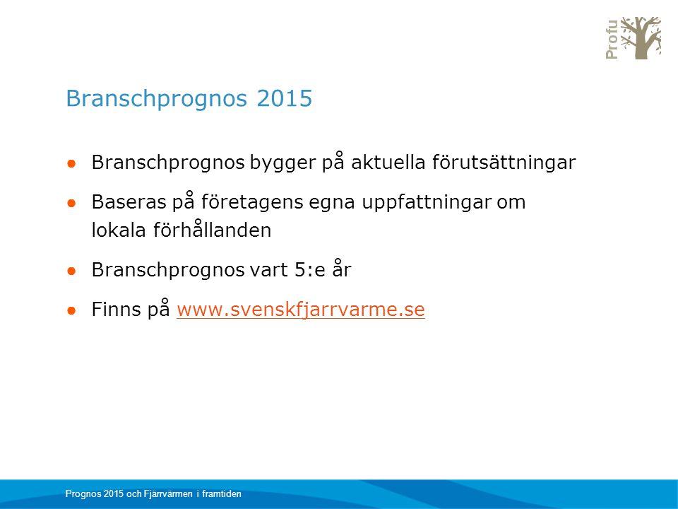 Branschprognos 2015 ● Branschprognos bygger på aktuella förutsättningar ● Baseras på företagens egna uppfattningar om lokala förhållanden ● Branschpro