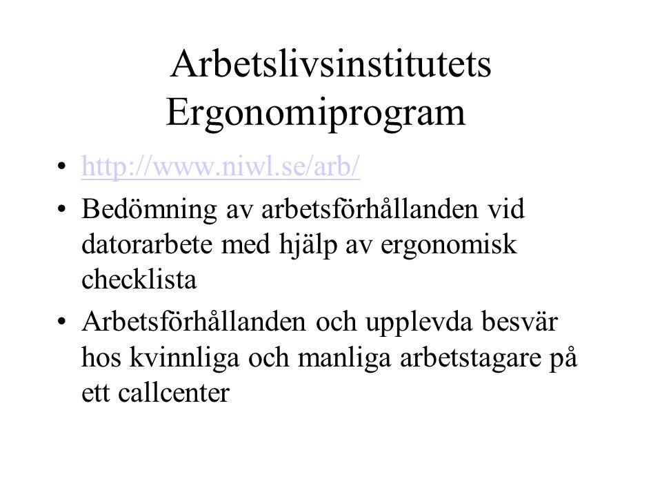 Arbetslivsinstitutets Ergonomiprogram http://www.niwl.se/arb/ Bedömning av arbetsförhållanden vid datorarbete med hjälp av ergonomisk checklista Arbetsförhållanden och upplevda besvär hos kvinnliga och manliga arbetstagare på ett callcenter