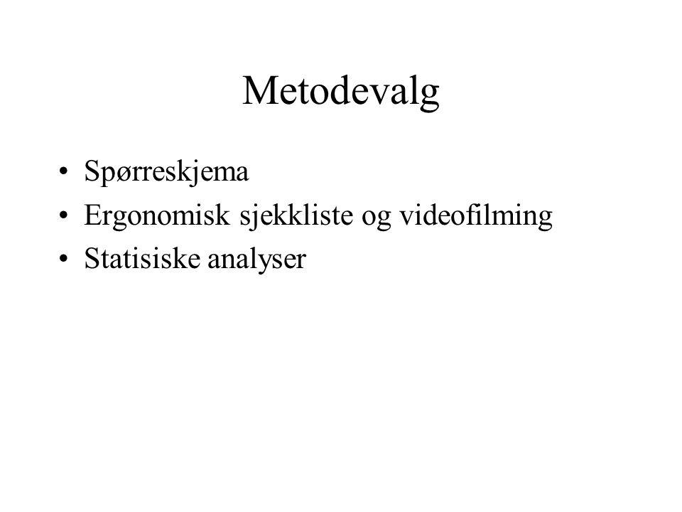 Metodevalg Spørreskjema Ergonomisk sjekkliste og videofilming Statisiske analyser
