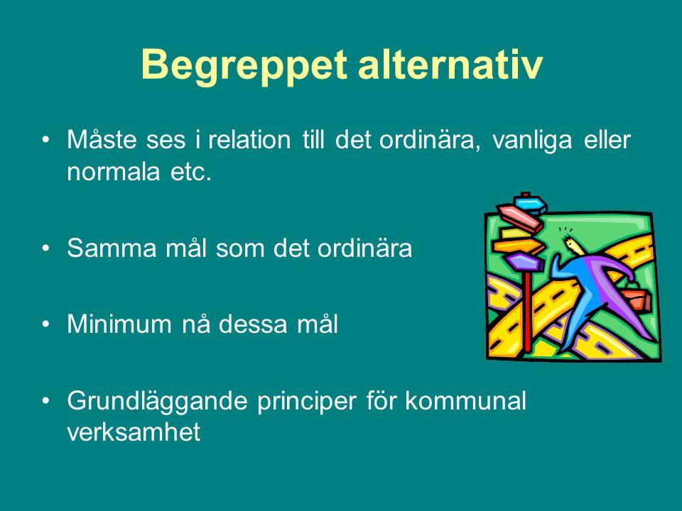 Begreppet alternativ Måste ses i relation till det ordinära, vanliga eller normala etc.