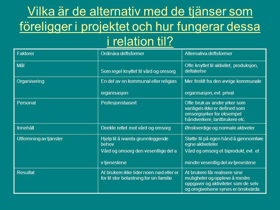 Vilka är de alternativ med de tjänser som föreligger i projektet och hur fungerar dessa i relation til.