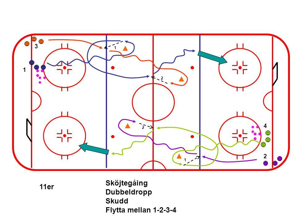 1 4 3 2 1 2 2 1 11er Sköjtegåing Dubbeldropp Skudd Flytta mellan 1-2-3-4