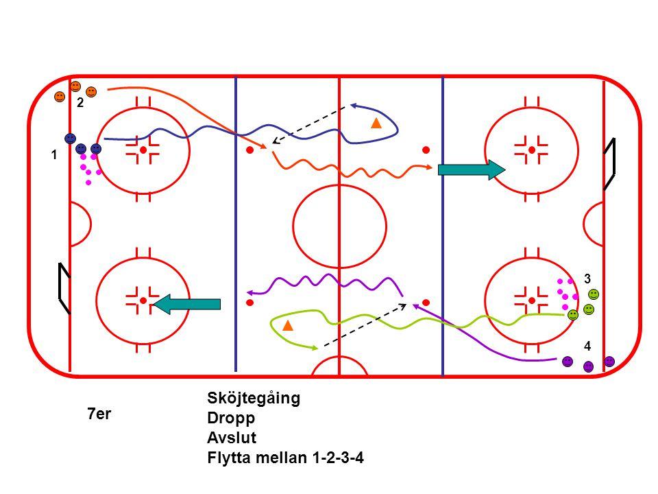1 3 2 4 7er Sköjtegåing Dropp Avslut Flytta mellan 1-2-3-4