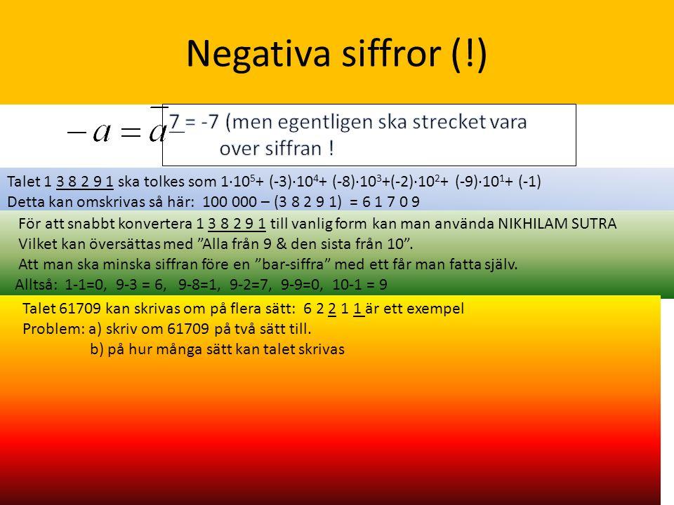 Negativa siffror (!) Talet 1 3 8 2 9 1 ska tolkes som 1·10 5 + (-3)·10 4 + (-8)·10 3 +(-2)·10 2 + (-9)·10 1 + (-1) Detta kan omskrivas så här: 100 000