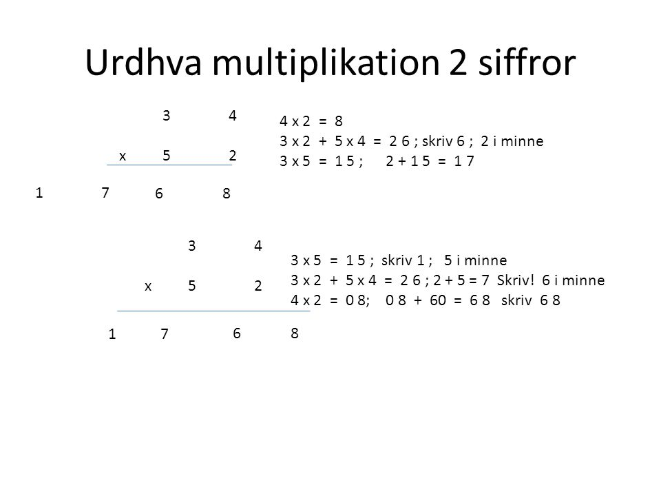 Urdhva multiplikation 2 siffror 3434 x52 4 x 2 = 8 3 x 2 + 5 x 4 = 2 6 ; skriv 6 ; 2 i minne 3 x 5 = 1 5 ; 2 + 1 5 = 1 7 86 1717 3434 x52 3 x 5 = 1 5