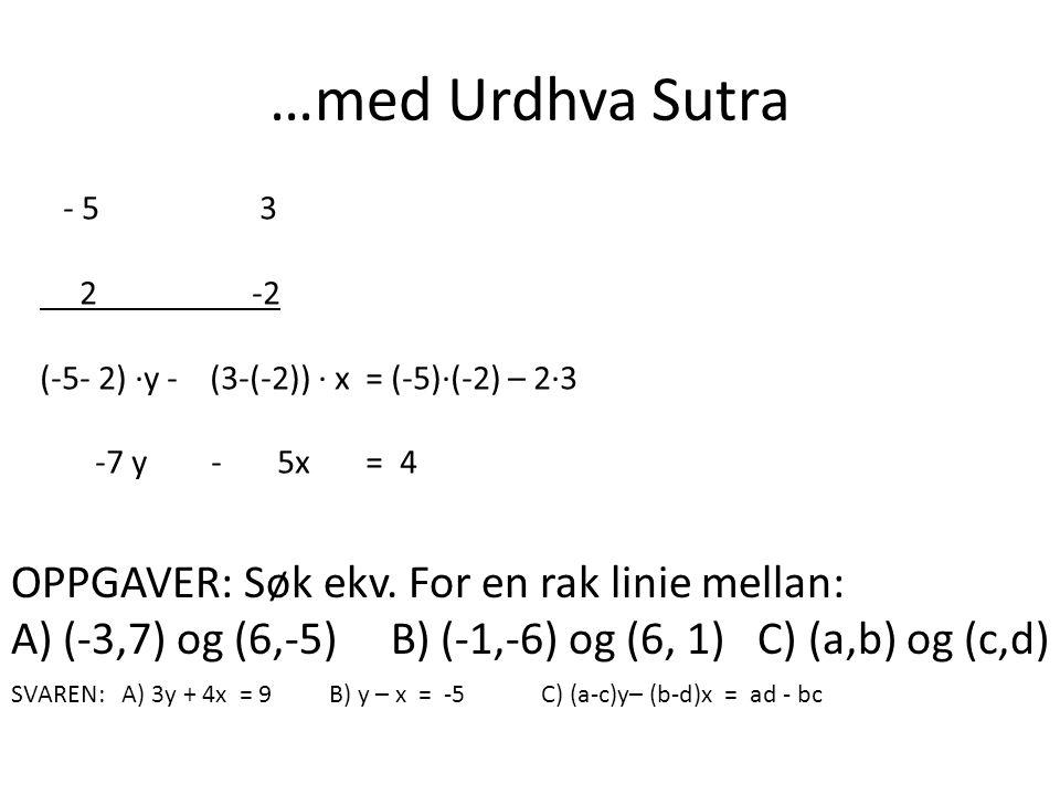 …med Urdhva Sutra - 5 3 2 -2 (-5- 2) ·y - (3-(-2)) · x = (-5)·(-2) – 2·3 -7 y - 5x = 4 OPPGAVER: Søk ekv. For en rak linie mellan: A) (-3,7) og (6,-5)