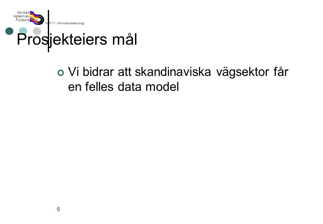 Rev 2003 Nordisk Vejteknisk Forbund NVF-11: Informationsteknologi 6 Prosjekteiers mål Vi bidrar att skandinaviska vägsektor får en felles data model