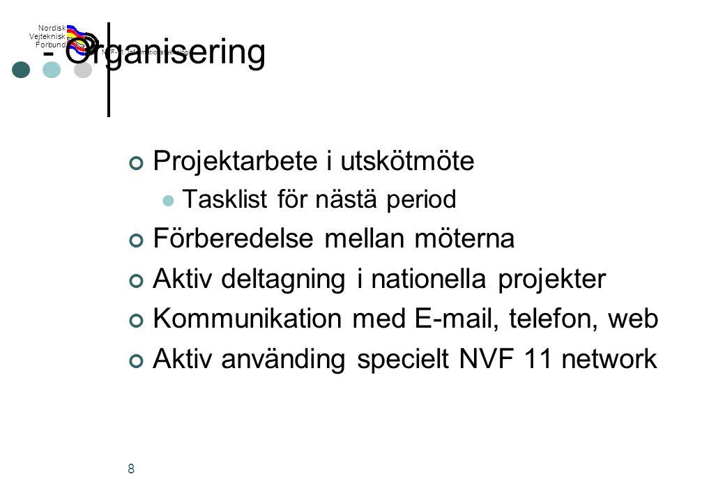 Rev 2003 Nordisk Vejteknisk Forbund NVF-11: Informationsteknologi 8 - Organisering Projektarbete i utskötmöte Tasklist för nästä period Förberedelse mellan möterna Aktiv deltagning i nationella projekter Kommunikation med E-mail, telefon, web Aktiv använding specielt NVF 11 network