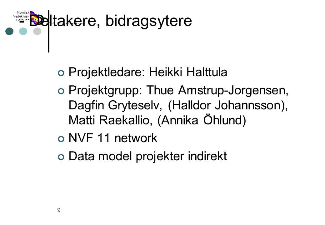 Rev 2003 Nordisk Vejteknisk Forbund NVF-11: Informationsteknologi 9 - Deltakere, bidragsytere Projektledare: Heikki Halttula Projektgrupp: Thue Amstrup-Jorgensen, Dagfin Gryteselv, (Halldor Johannsson), Matti Raekallio, (Annika Öhlund) NVF 11 network Data model projekter indirekt